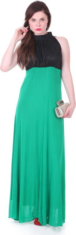 1 For Me Womens Maxi Green Dress