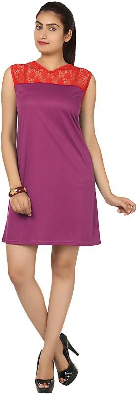 Klick2Style Women's A-line Red, Purple Dress