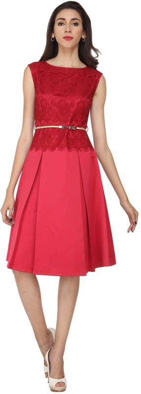 Soie Women's Fit and Flare Pink Dress