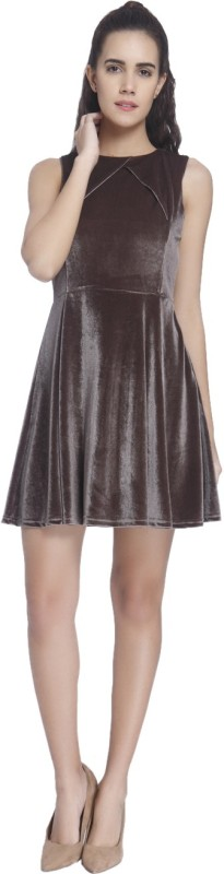 Vero Moda Womens Fit and Flare Beige Dress