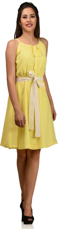Shaper Women's Fit and Flare Yellow Dress