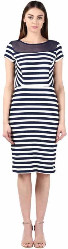Park Avenue Womens A-line Blue, White Dress
