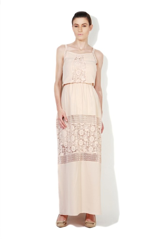 Van Heusen Womens Maxi Beige Dress