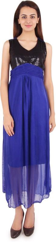 Western World Women Maxi Light Blue, Black Dress