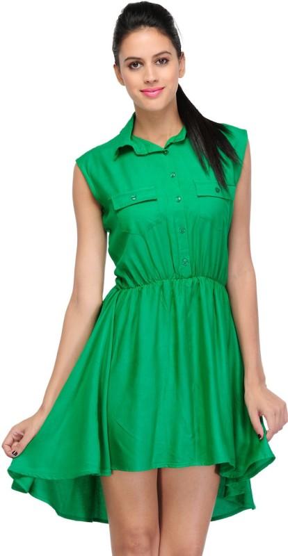 Klick2Style Women's High Low Green Dress
