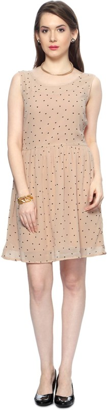 Van Heusen Womens A-line Beige Dress