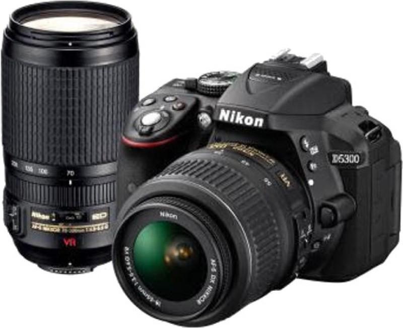 Nikon D5300 DSLR Camera Body with Dual Lens: AF-P DX NIKKOR 18 - 55 mm f/3.5 - 5.6G VR + AF-P DX NIKKOR 70 - 300 mm f/4.5 - 6.3G ED VR (16 GB SD Card + Camera Bag)(Black)