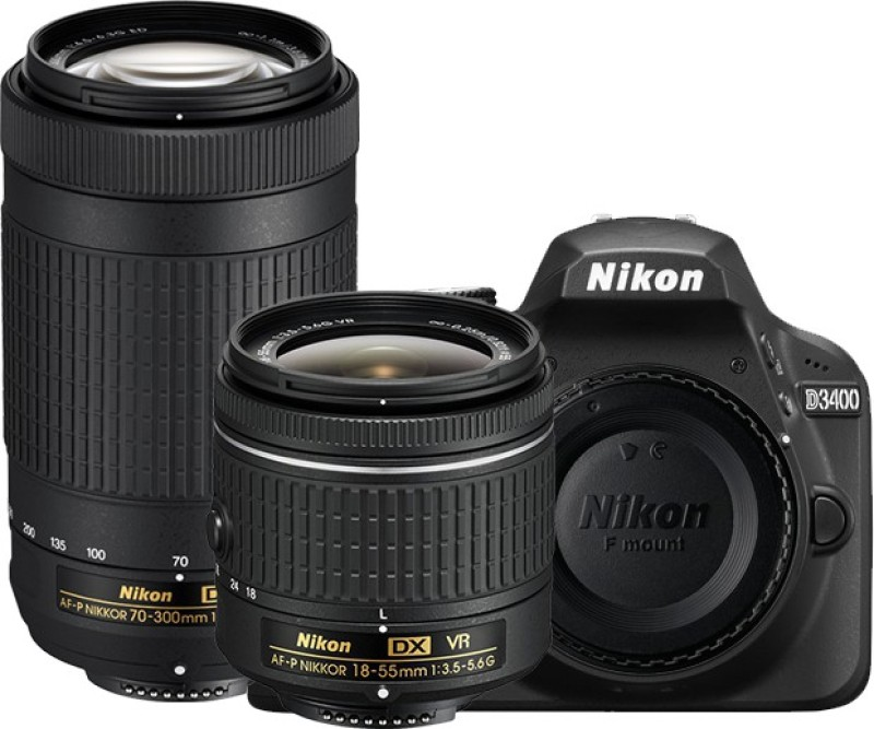 Nikon D3400 DSLR Camera Body with Dual Lens: AF-P DX NIKKOR 18-55 mm f/3.5 - 5.6G VR + AF-P DX NIKKOR 70-300 mm f/4.5 - 6.3G ED VR (16 GB SD Card + Camera Bag)(Black)