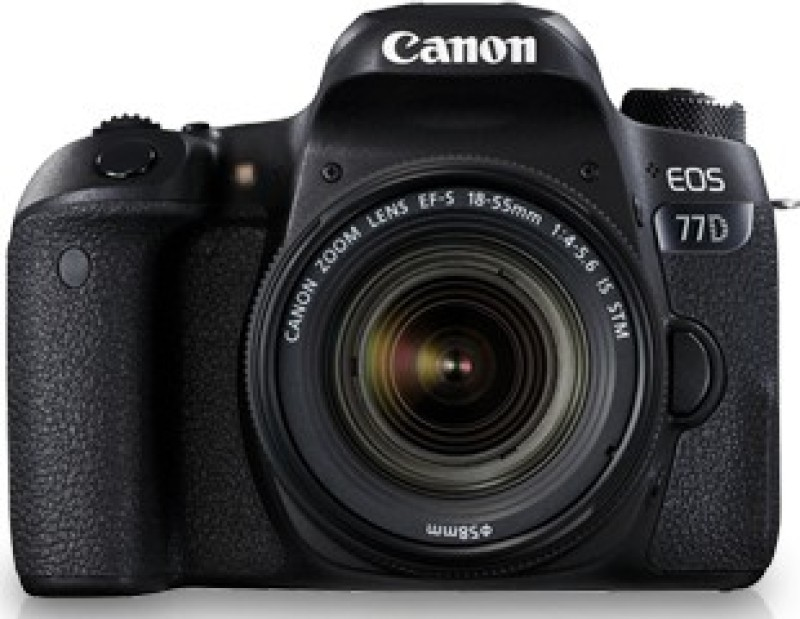 Canon EOS 77D DSLR Camera Body with Single Lens: EF-S18-55 IS STM (16 GB SD Card + Camera Bag)(Black) image
