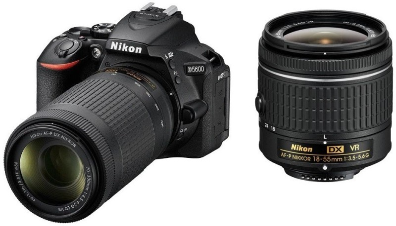 Nikon D5600 DSLR Camera Body with Dual Lens: AF-P DX Nikkor 18 - 55 MM F/3.5-5.6G VR and 70-300 MM F/4.5-6.3G ED VR (16 GB SD Card)(Black)