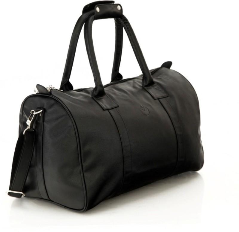 Mboss Sleek Faux leather Unisex Black Small Travel Bag - Medium(Black)