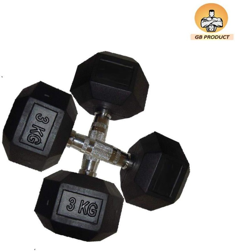 GB 3 kg pair of 2 Hex Fixed Weight Dumbbell(6 kg)