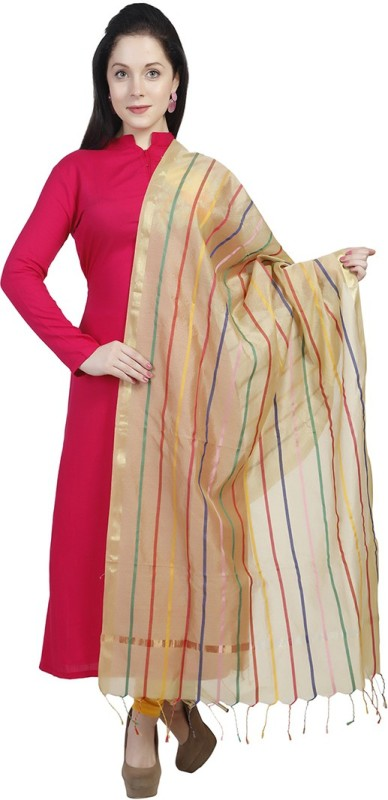 Dupatta Bazaar Silk Cotton Blend Striped Women's Dupatta