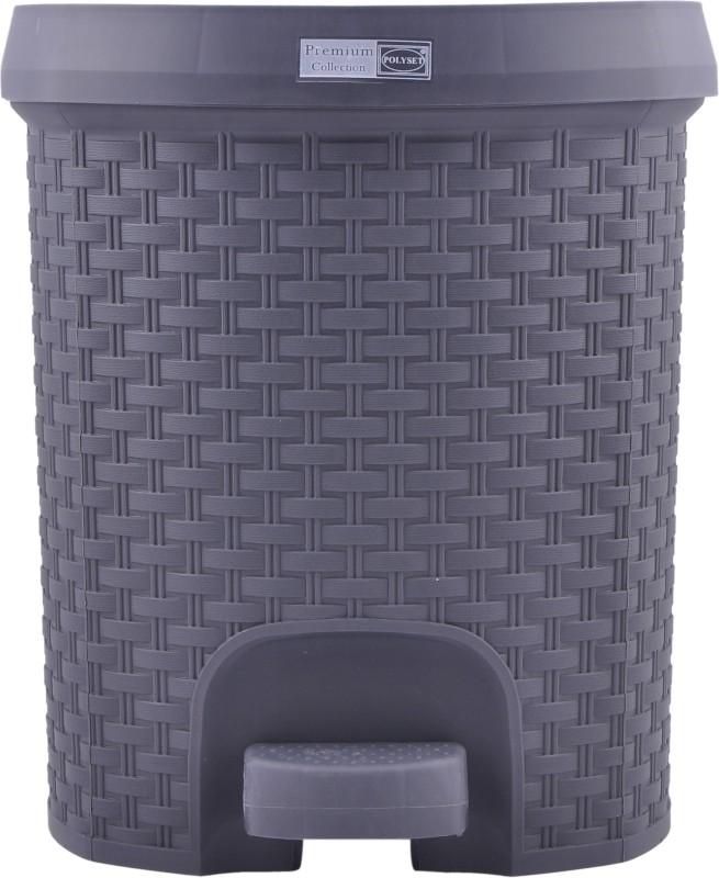 Polyset RATTAN SERIES Plastic Dustbin(Grey)