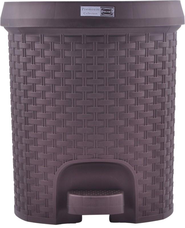 Polyset Rattan Series Plastic Dustbin(Brown)