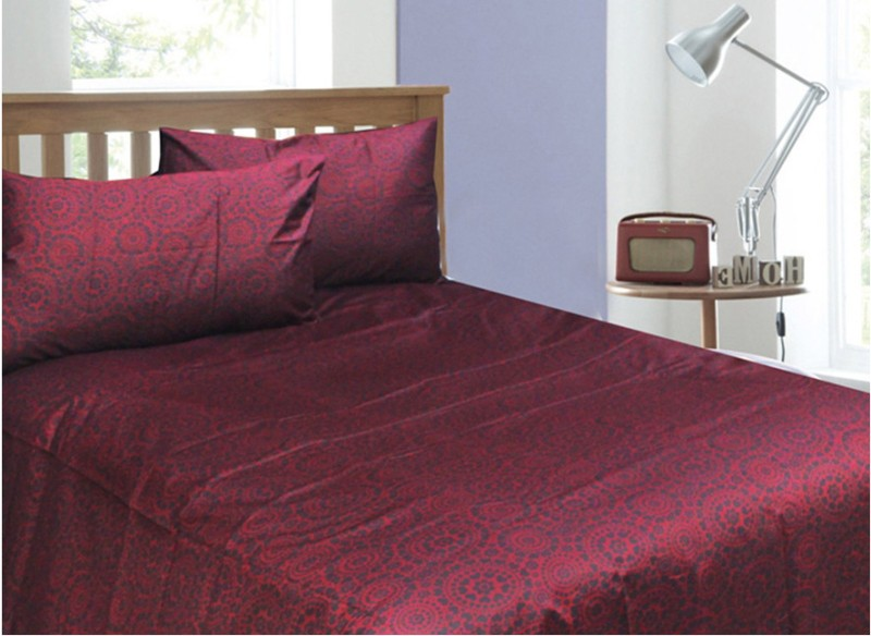Rhome Queen Cotton Duvet Cover(Blue, Maroon, 2 Pillow Covers, 1 Duvet Cover)
