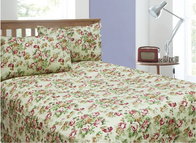 Rhome Queen Cotton Duvet Cover(Beige, Pink, Green, 2 Pillow Covers, 1 Duvet Cover)