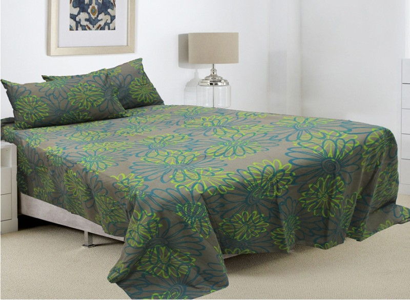 Rhome Queen Cotton Duvet Cover(Blue, Green, Grey, 1 Duvet Cover, 2 Pillow Covers)