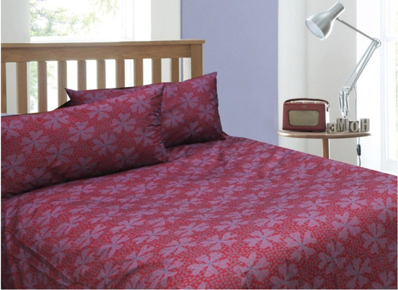 Rhome Queen Cotton Duvet Cover(Red, Purple, 1 Duvet Cover, 2 Pillow Covers)