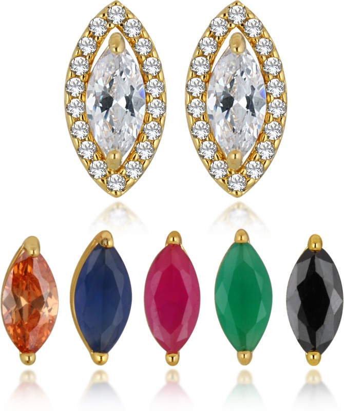 Spargz Multicolor 5 In 1 Interchangeable Gold Plated CZ Stone Stud Earring For Women Cubic Zirconia Brass Earring Set