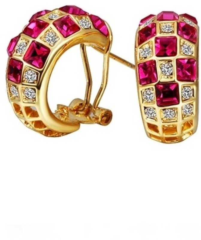 Aaishwarya Gleam of Ruby AAA Zircon Alloy Huggie Earring