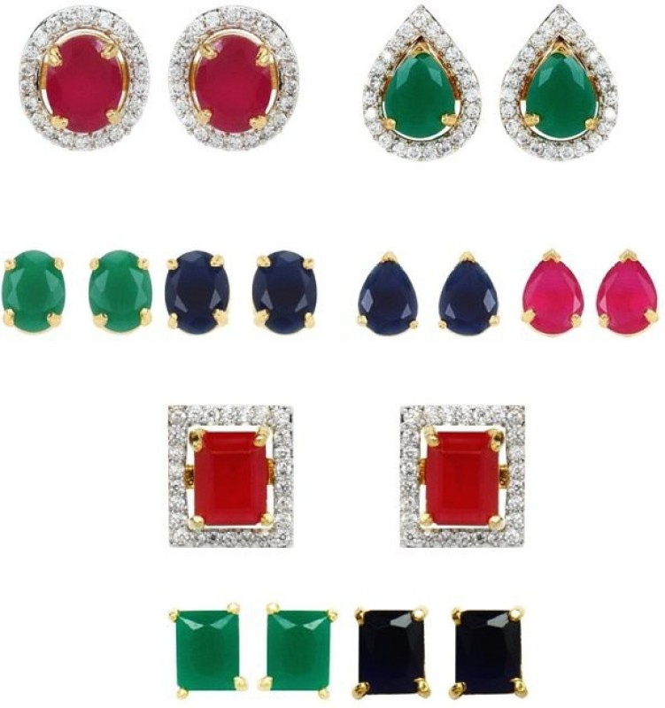 Jewels Guru Diva Style Cubic Zirconia Brass, Silver Earring Set