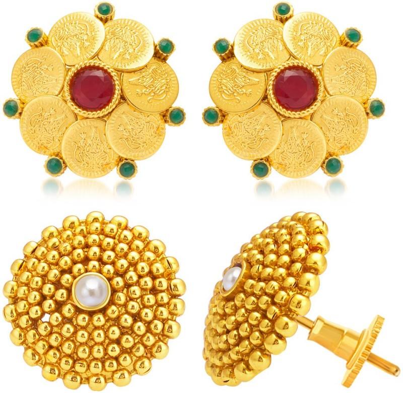 Sukkhi Wavy Laxmi Temple Coin Alloy Earring Set