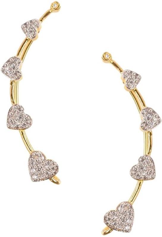 Jewels Guru Diva Style Cubic Zirconia Brass, Silver Cuff Earring