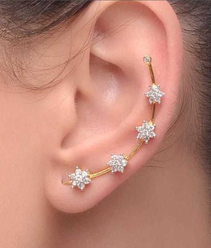 JDX American Diamond EarCuff Brass Clip-on Earring