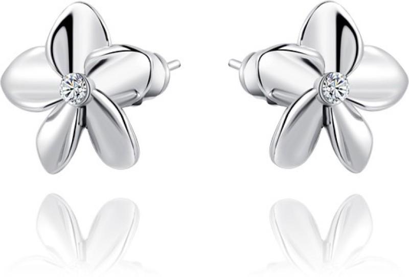 Silver Shoppee My Love Swarovski Crystal Sterling Silver Stud Earring