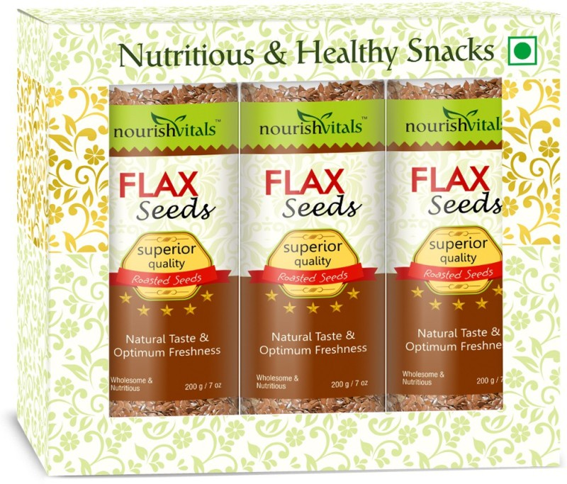NourishVitals Tasty Roasted Flax Seeds(200 g, Pack of 3)