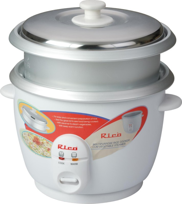 Rico RC1503- with 2 bowl Electric Rice Cooker(White)