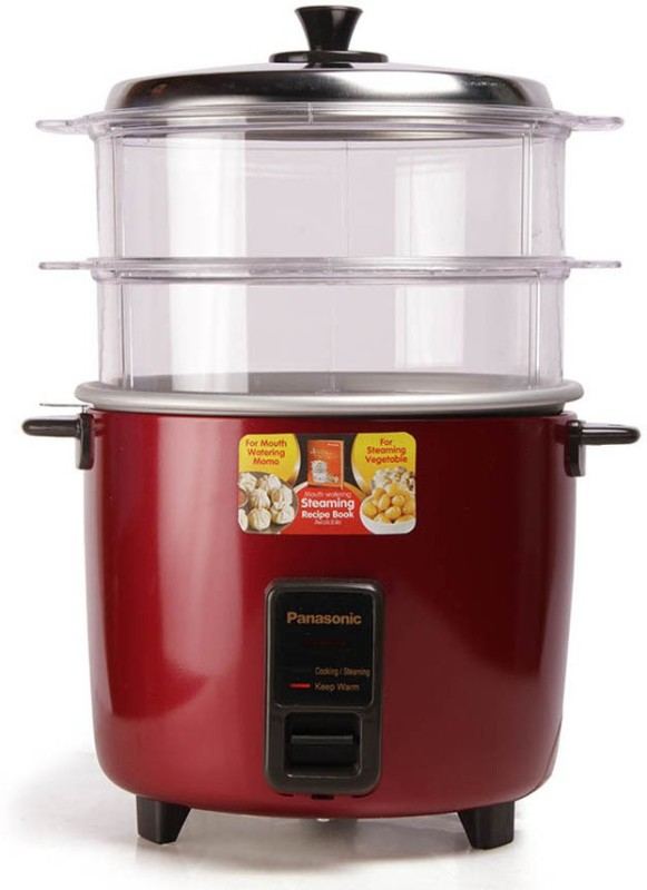 Panasonic WA22H(SS) Food Steamer, Rice Cooker(5.4 L, Red)