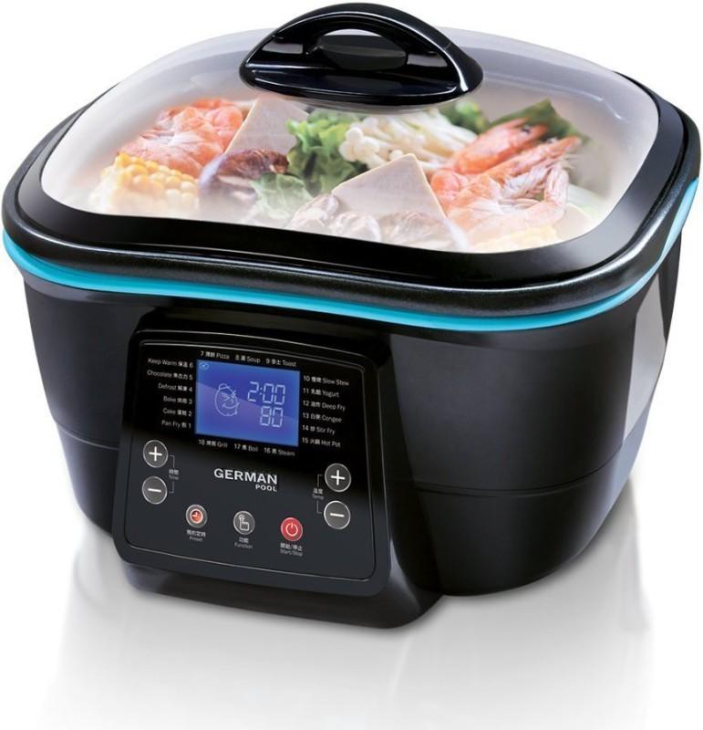 German Pool DFC-818 Rice Cooker, Food Steamer, Slow Cooker, Deep Fryer, Air Fryer(5 L, Black)