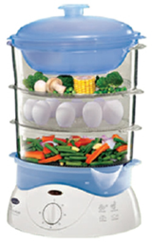 GLEN GL 3051 Steam cooker Food Steamer(1.2 L, White and blue)