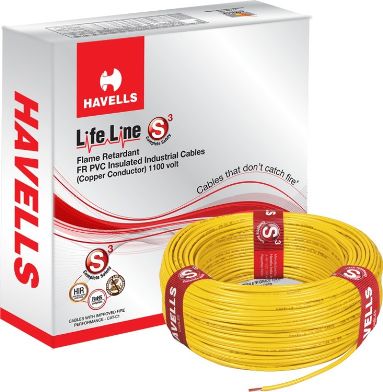 Havells FR PVC, PVC 1.5 sq/mm Yellow 90 m Wire(Yellow)