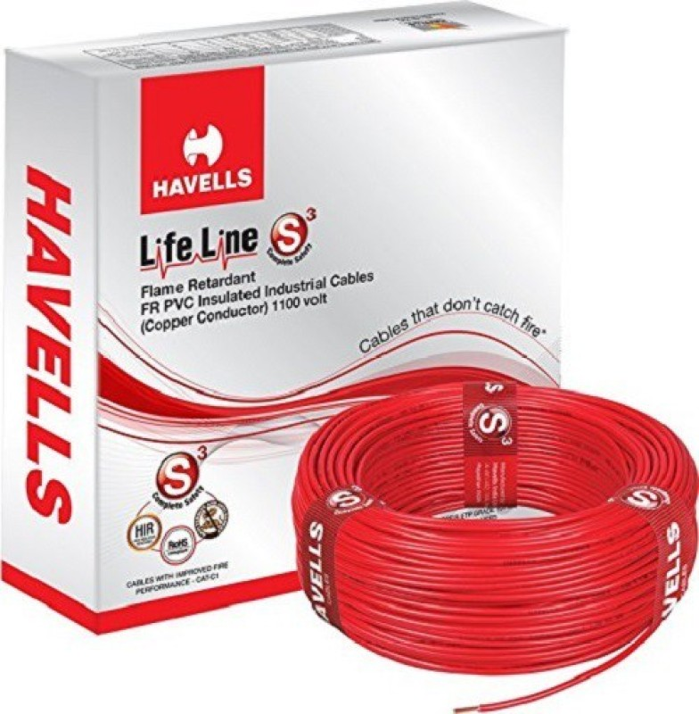 Havells FR PVC, PVC 1 sq/mm Red 90 m Wire(RED)
