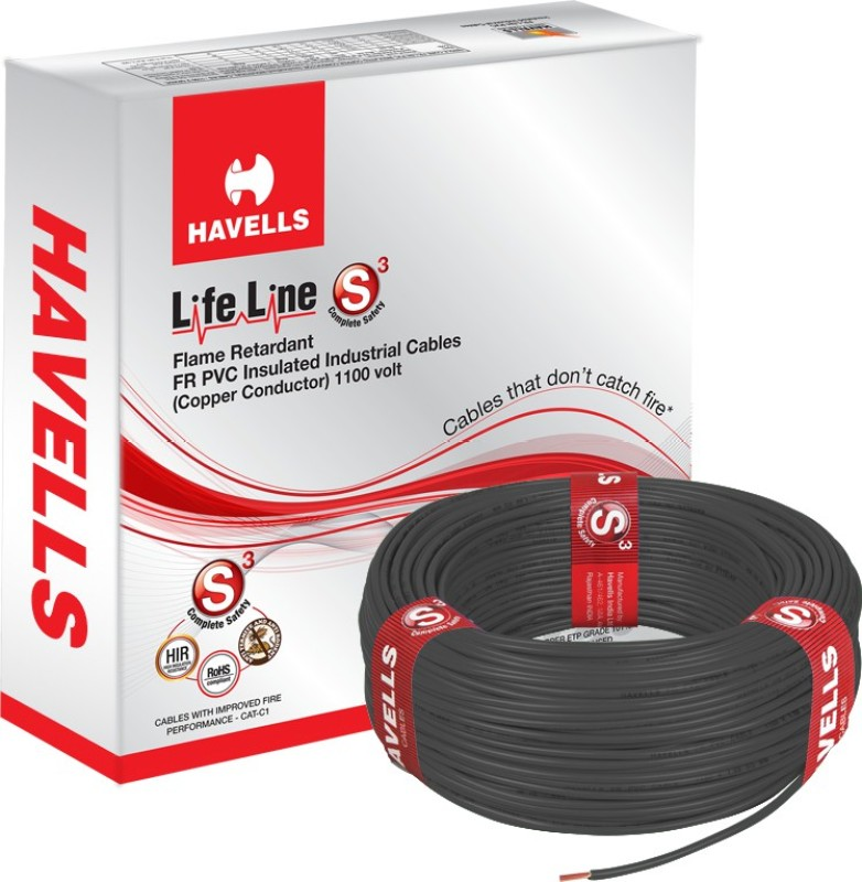 Havells FR PVC, PVC 2.5 sq/mm Black 90 m Wire(Black)
