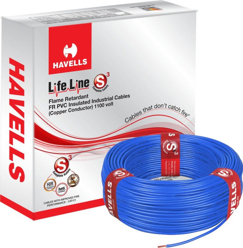 Havells FR PVC, PVC 4 sq/mm Blue 90 m Wire(Blue)