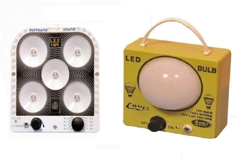 CELLZONE Combo pack of 5 LED with inbuilt F & 1 LED Bulb Rechargeable Emergency Lights(Multicolor)