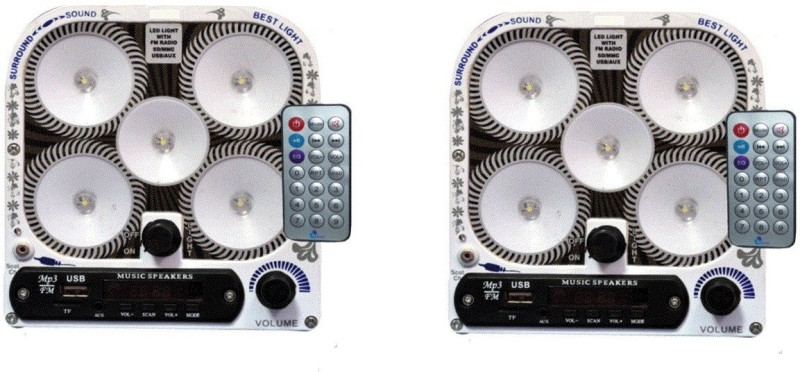 CELLZONE COMBO PACK OF 5 LED RECHARGEABLE WITH FM RADIO, USB & AUX MODE Emergency Lights(Multicolor)