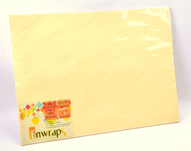 Enwraps Premium Laminated 16 x 12(inch) Envelopes(Pack of 10 Yellow)