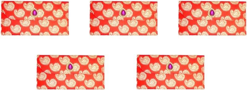 FashBlush Designer Ethnic Festivity Glamour Envelopes(Pack of 5 Red, Pink, Gold)