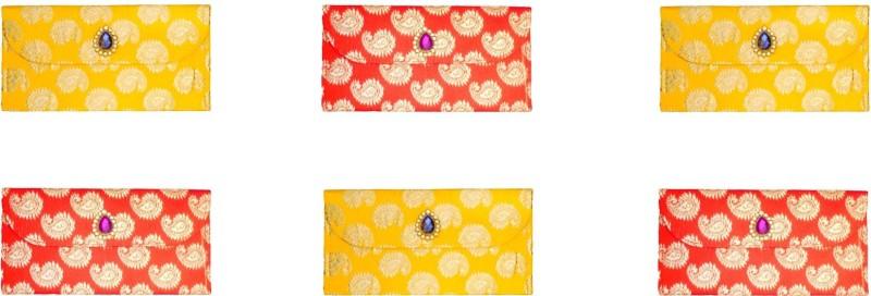 FashBlush Designer Ethnic Festivity Glamour Envelopes(Pack of 6 Red, Yellow, Gold)