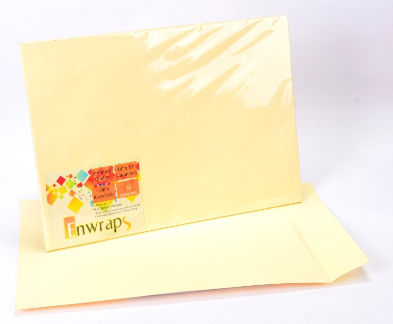 Enwraps Premium Laminated 14 x 10(inch) Envelopes(Pack of 12 Yellow)