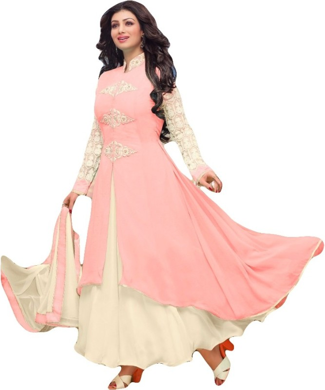SItaram Poly Georgette Embroidered, Embellished Kurta with Jacket & Bottom Material(Semi Stitched)