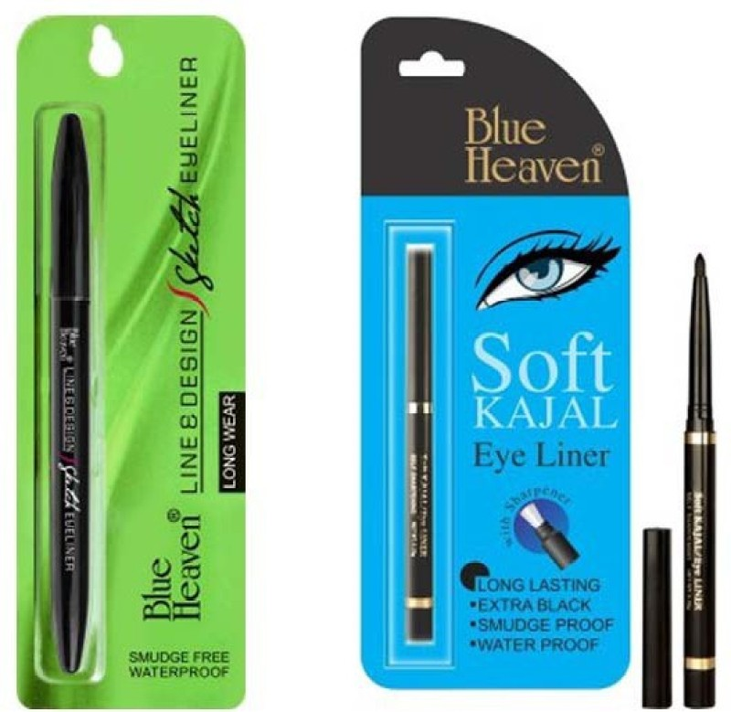 Blue Heaven (Line & Design Sketch Eyeliner) & (Soft kajal) 1 ml(black)