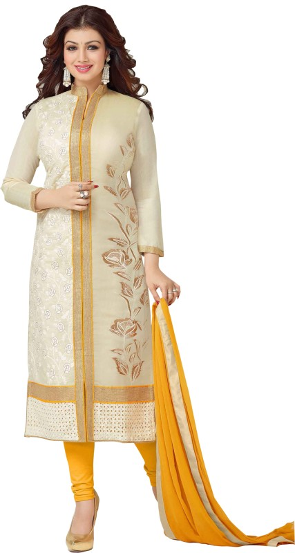 SItaram Cotton Blend Self Design, Embroidered Kurta with Jacket & Bottom Material(Unstitched)