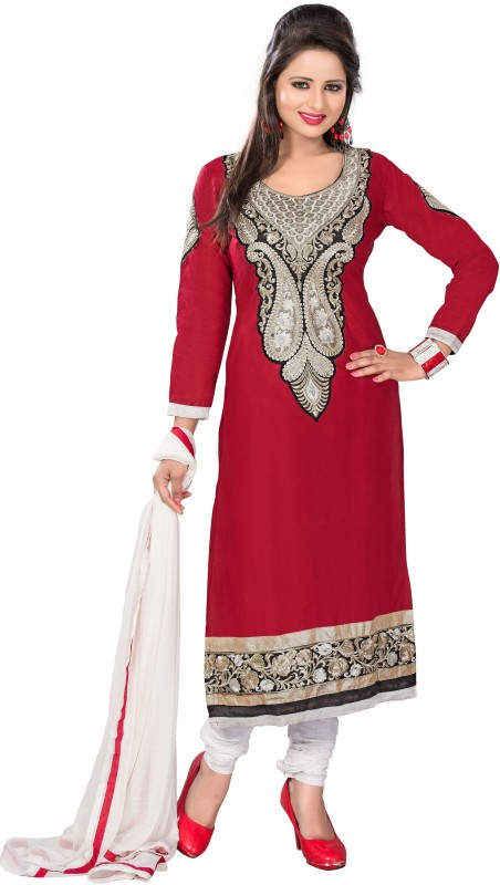 Women Latest Fancy Designer Salwar Suit Cotton Blend Embroidered, Solid Salwar Suit Material(Unstitched)