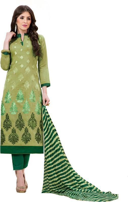 Women Latest Fancy Designer Poly Chanderi Embroidered, Embellished Salwar Suit Material(Unstitched)
